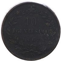 Italy 1867N 10 Cent Almost Uncirculated (AU-50) $