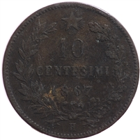 Italy 1867H 10 Cent Very Fine (VF-20)