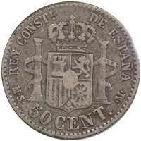 Spain 1885MS-M 50 Centimes Very Fine (VF-20)