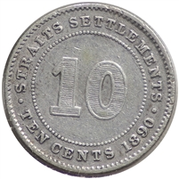 Straits Settlement 1890H 10 Cents Very Fine (VF-20)