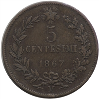 Italy 1867M 5 Cent Extra Fine (EF-40)