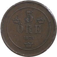 Sweden 1874 5 Ore Very Fine (VF-20)