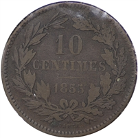 Luxembourg 1855A 10 Centimes VF-EF (VF-30)