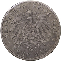 Germany 1902A Prussia 5 Mark Extra Fine (EF-40) $