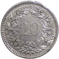 Switzerland 1920B 20 Rappen Almost Uncirculated (AU-50)