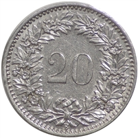 Switzerland 1936B 20 Rappen Almost Uncirculated (AU-50)