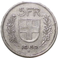 Switzerland 1952B 5 Francs Extra Frine (EF-40) $