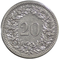 Switzerland 1885B 20 Rappen Almost Uncirculated (AU-50)