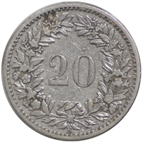 Switzerland 1884B 20 Rappen VF-EF (VF-30)