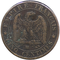 France 1862BB 5 Centimes Extra Fine (EF-40)