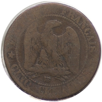France 1863BB 5 Centimes Fine (F-12)