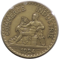 France 1924 2 Francs Almost Uncirculated (AU-50)