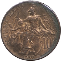 France 1907 10 Centimes Almost Uncirculated (AU-50)