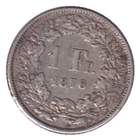 Switzerland 1876B Franc VF-EF