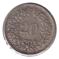 Switzerland 1850BB 20 Rappen VF-EF