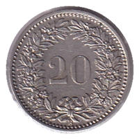Switzerland 1932B 20 Rappen Almost Uncirculated (AU-50)