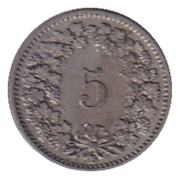 Switzerland 1897B 5 Rappen VF-EF