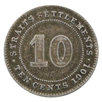 Straits Settlements 1901 10 Cents VF-EF