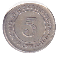 Straits Settlements 1901 5 Cents VF-EF