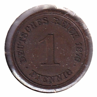 Germany 1876D Pfennig Almost Uncirculated (AU-50)