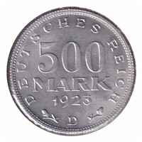 Germany 1923D 500 Mark Uncirculated (MS-60)