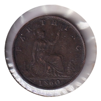 Great Britain 1860 Toothed Border Farthing Extra Fine (EF-40)