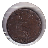 Great Britain 1860 Farthing Almost Uncirculated (AU-50)