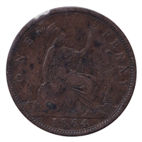 Great Britain 1864 Plain Date Penny VG-F (VG-10)
