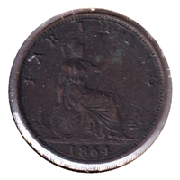 Great Britain 1864 Farthing Extra Fine (EF-40)
