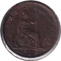 Great Britain 1875H Small Date 4 Berries Farthing Extra Fine (EF-40)