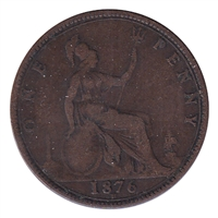 Great Britain 1876H Penny Fine (F-12)