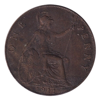 Great Britain 1911 Penny Extra Fine (EF-40)