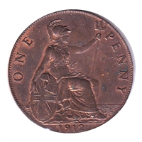 Great Britain 1912 Penny Almost Uncirculated (AU-50)