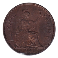 Great Britain 1946 Penny Almost Uncirculated (AU-50)