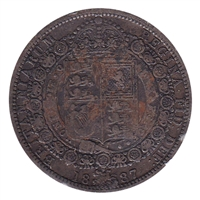Great Britain 1887 1/2 Crown Fine (F-12)
