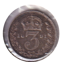Great Britain 1891 3 Pence Very Fine (VF-20)