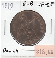Great Britain 1919 Penny Token VF-EF (VF-30)