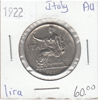 Italy 1922 Lira Almost Uncirculated (AU-50)