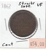 Straits Settlements 1862 Cent Very Fine (VF-20)