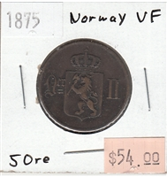 Norway 1875 5 Ore Very Fine (VF-20)