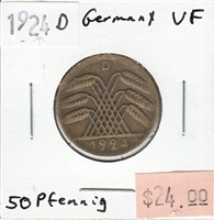 Germany 1924D 50 Pfennig Very Fine (VF-20)