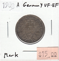 Germany 1908A Mark VF-EF (VF-30)