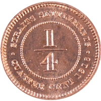 Straits Settlements 1916 1/4 Cent Brilliant Uncirculated