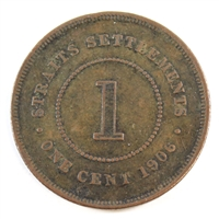 Straits Settlements 1906 Cent Very Good