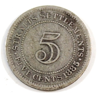 Straits Settlements 1885 5 Cents Very Good