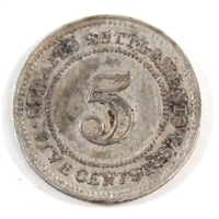 Straits Settlements 1887 5 Cents F-VF