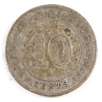 Straits Settlements 1884 Crosslet 4 10 Cents VG-F
