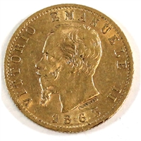 Italy 1863TBN 20 Lire Gold Extra Fine