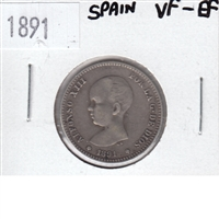Spain 1891 Peseta VF-EF