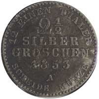 Germany 1853A Prussia 2 1/12 Silber Groschen Extra Fine (EF-40)